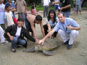 A pawikan or sea turtle greets members of the ICRMP review mission (Photo by Marilou Drilon)