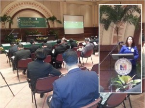 Day 1 of the 3–day Second Asian Judges Symposium on Environment being held 3–5 December at the ADB headquarters in Manila, Philippines. Inset shows Supreme Court of the Philippines Chief Justice Ma. Lourdes Sereno delivering her opening remarks (Photo by CTKNetwork.org)