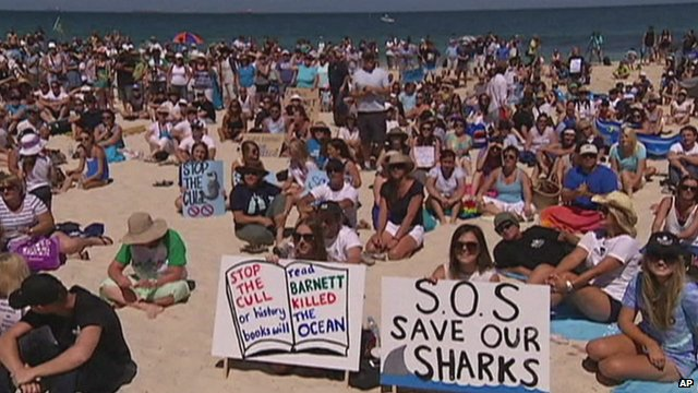 Protesters gather on a beach in Perth (Photo courtesy of BBC News)