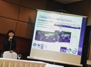Khristine Custodio, project manager and ICT specialist for GEF IW:LEARN presented the online tools and services of IWLEARN.NET during the GEF IW:LEARN Regional Workshop for Asia and the Pacific. (Photo by CTKN)