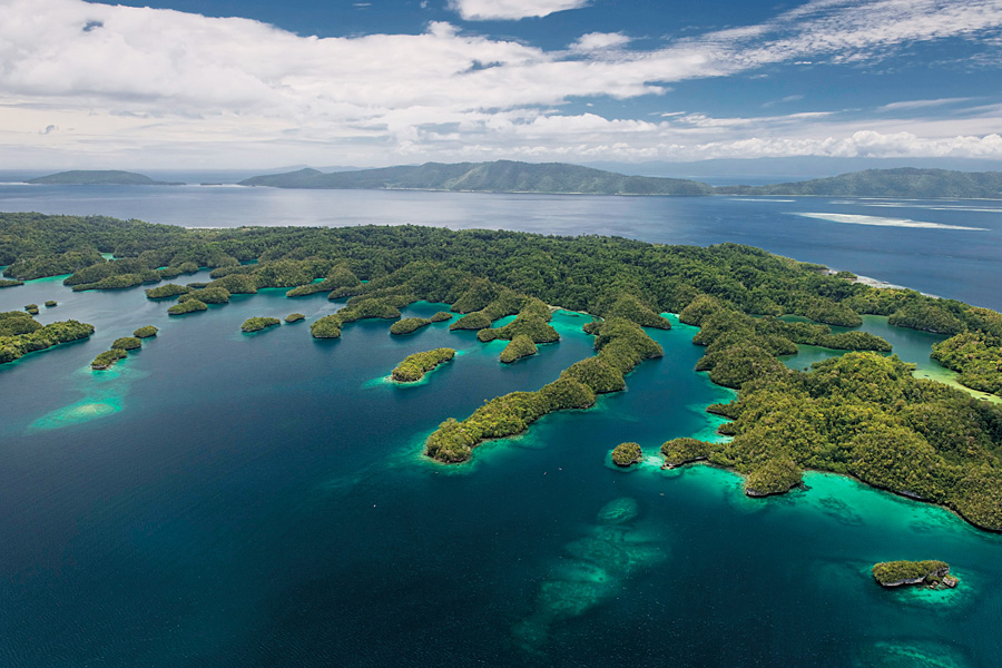 Aerial view of the four main islands of Raja Ampat in Indonesia, part of what have been scientifically determined to be the richest reefs in the world. (Photo: Jürgen Freund and Stella-Chiu Freund - ADB/WWF)
