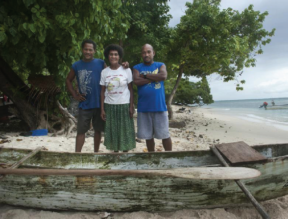 Leonard Bamaba, Marida Ginisi and Kidilon Bamaba are leaders in the family that now combines traditional and contemporary conservation practices on Wiyaloki Island in Milne Bay. (Photo by: USAID CTSP / Tory Read)