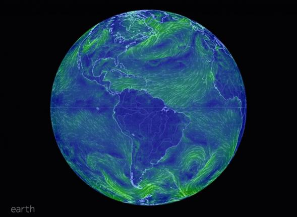 The Earth Wind Map, an animated map of global weather conditions according to data from the U.S. National Weather Service's Global Forecast System, can be viewed at earth.nullscholl.net.