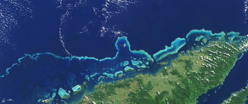 The extensive coral reefs on the northern shore of Vanua Levu, Fiji's second largest island, can be seen on this natural color Landsat 8 image acquired on May 10, 2015. (Photo from: NASA/USGS/Landsat)